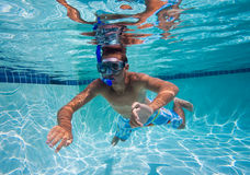 Swimmer in Pool Underwater Stock Photography