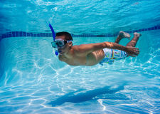 Swimmer in Pool Underwater Stock Image