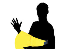 Swimmer Profile. Silhouette of a young boy with flippers for swimming Royalty Free Stock Photo