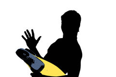 Swimmer Profile. Silhouette of a young boy with flippers for swimming Stock Photo
