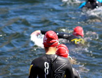 Swimmer Ready to Enter Water Stock Photo