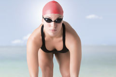 Swimmer Ready to Jump Royalty Free Stock Photos