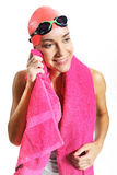 Swimmer's body wipe pink towel Royalty Free Stock Images
