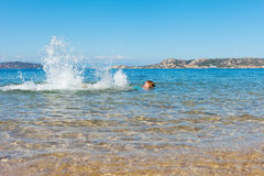Swimmer at Sardinia coast. Stock Photography