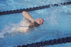 Swimmer in Senior Olympic Swimming Competition, Ojai, CA Royalty Free Stock Image