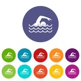 Swimmer set icons Stock Images