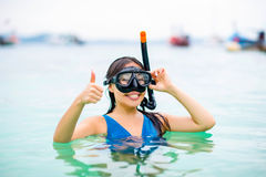 Swimmer with snorkling glasses. Pretty asian woman wearing underwater snorkling glasses Royalty Free Stock Image