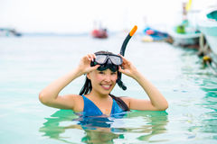 Swimmer with snorkling glasses. Pretty asian woman wearing underwater snorkling glasses Stock Photo