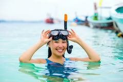 Swimmer with snorkling glasses. Pretty asian woman wearing underwater snorkling glasses Stock Images