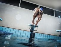 Swimmer standing on starting block Royalty Free Stock Photos