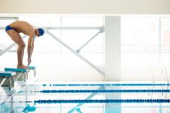 Swimmer standing on starting block Royalty Free Stock Photo
