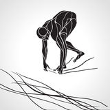 Swimmer At Starting Block Silhouette Royalty Free Stock Image