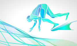 Swimmer At Starting Block Silhouette. The professional swimmer starts to dive on the competition. Vector color silhouette illustration on white background Stock Image