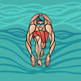Swimmer At Starting Block Silhouette Stock Image