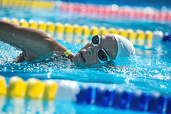 Swimmer in the swim pool. Close-up photo of female swimmer in the motion in the swimming pool outdoors. She wears a black-lime swimsuit, a white swim cap and royalty free stock image