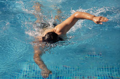 Swimmer in swimming pool. Photo of a swimmer doing spring in summer Royalty Free Stock Photography