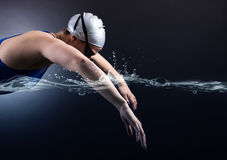 Swimmer swims. Royalty Free Stock Image