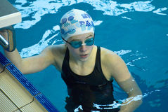 Swimmer takes part in the competition Stock Photography