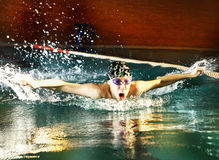Swimmer teen boy swim butterfly. Teenager boy swim butterfly style in swimming pool Stock Photography