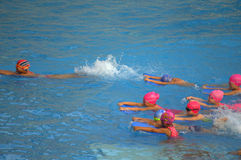 Children swimmer training competition Royalty Free Stock Photo