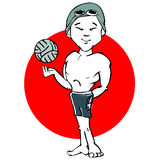 Swimmer waterpolo asian man cartoon Stock Image