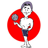 Swimmer waterpolo man cartoon Royalty Free Stock Images