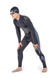 Swimmer in wetsuit and swimming goggles. Posing on white background royalty free stock photos