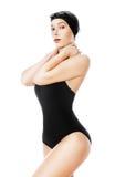 Swimmer woman in black swimwear Stock Photos