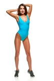 Swimmer woman stretching Royalty Free Stock Photo