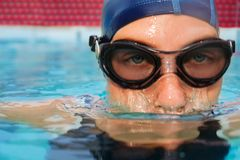 Swimmer woman submerging in pool Royalty Free Stock Image