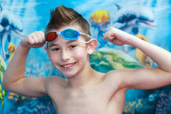 Swimmer. A young boy ready to swim Royalty Free Stock Images