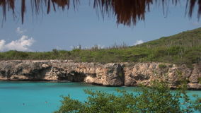 Swimmers in a bay. On Curacao stock video footage