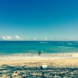 Swimmers at beach, Maui, Hawaii Stock Photos