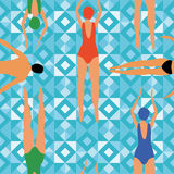 Swimmers blue geometric background. Swimmer men and women engaged in sports swimming. geometric background. Art top summer seamless pattern vector. Print people Royalty Free Stock Photos