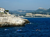 Swimmers in Cassis Stock Image
