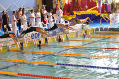 Swimmers diving into swimming pool. Swimmers at a competition diving off starting blocks for freestyle race. XVe French Winter Open Masters Championships Stock Image