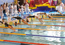 Swimmers diving into swimming pool. Swimmers at a competition diving from starting blocks to swim freestyle race. XVe French Winter Open Masters Championships Royalty Free Stock Image