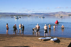 Swimmers Gather at Starting Point of Triathlon Royalty Free Stock Image