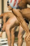 Swimmers Lined Up at Starting Blocks Stock Photography