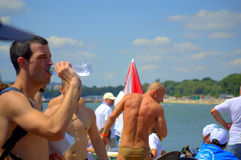 Swimmers after the race finish Royalty Free Stock Photography