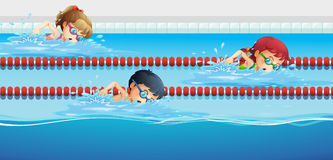 Swimmers racing in the pool Royalty Free Stock Image