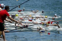 Swimmers at the Refreshment point. Of the open waters event during a Len European open waters swimming CUP on July 1, 2017 in Barcelona Spain Stock Photos