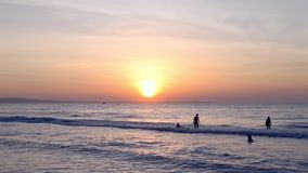 Swimmers in sea sunrise dusk. Golden sunset ocean horizon. Sea waves blue water and orange sunlight. Beautiful landscape calm scenery. Serene tropical panorama stock video