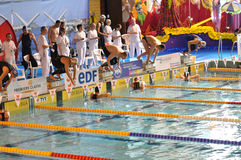 Swimmers starting diving into the swimming pool. Swimmers at a competition starting diving off the starting blocks. XVe French Winter Open Masters Championships Royalty Free Stock Photos