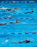 Swimmers during triathlon Royalty Free Stock Images