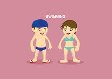 Swimmers Vector Cartoon Illustration Royalty Free Stock Photo