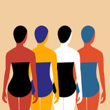 Swimmers Vector illustration. Four girls swimmers in bathing suits and swimming caps. The view from the back Royalty Free Stock Image