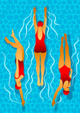 Swimmers women in the pool. Effect of caustic water. Illustration in art deco style. Royalty Free Stock Photography