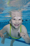 Swimming. Underwater picture of a young girl in the swimming-pool Royalty Free Stock Images