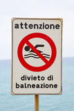 Swimming. Italian sign with forbids swimming royalty free stock photo